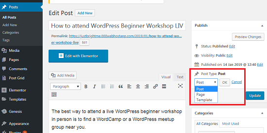 WordPress Page Ko Post ya Vice-versa Change Kaise Kare