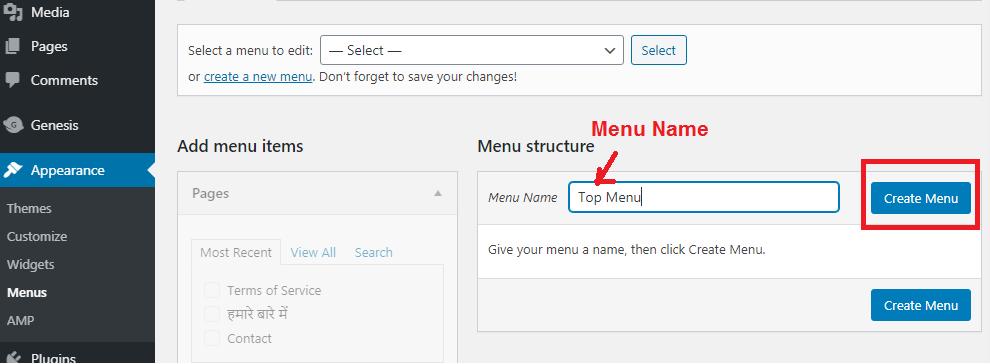 menu name